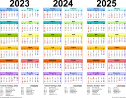 Download Template 1: Microsoft Excel template for three year calendar 2023-2025 (landscape orientation, 1 page, in color)
