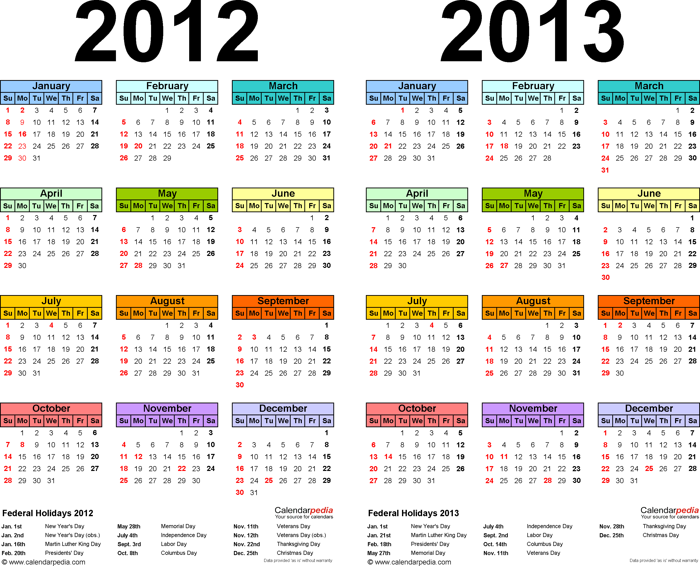 Template 1: PDF template for two year calendar 2012/2013 (landscape orientation, 1 page, multi-color)
