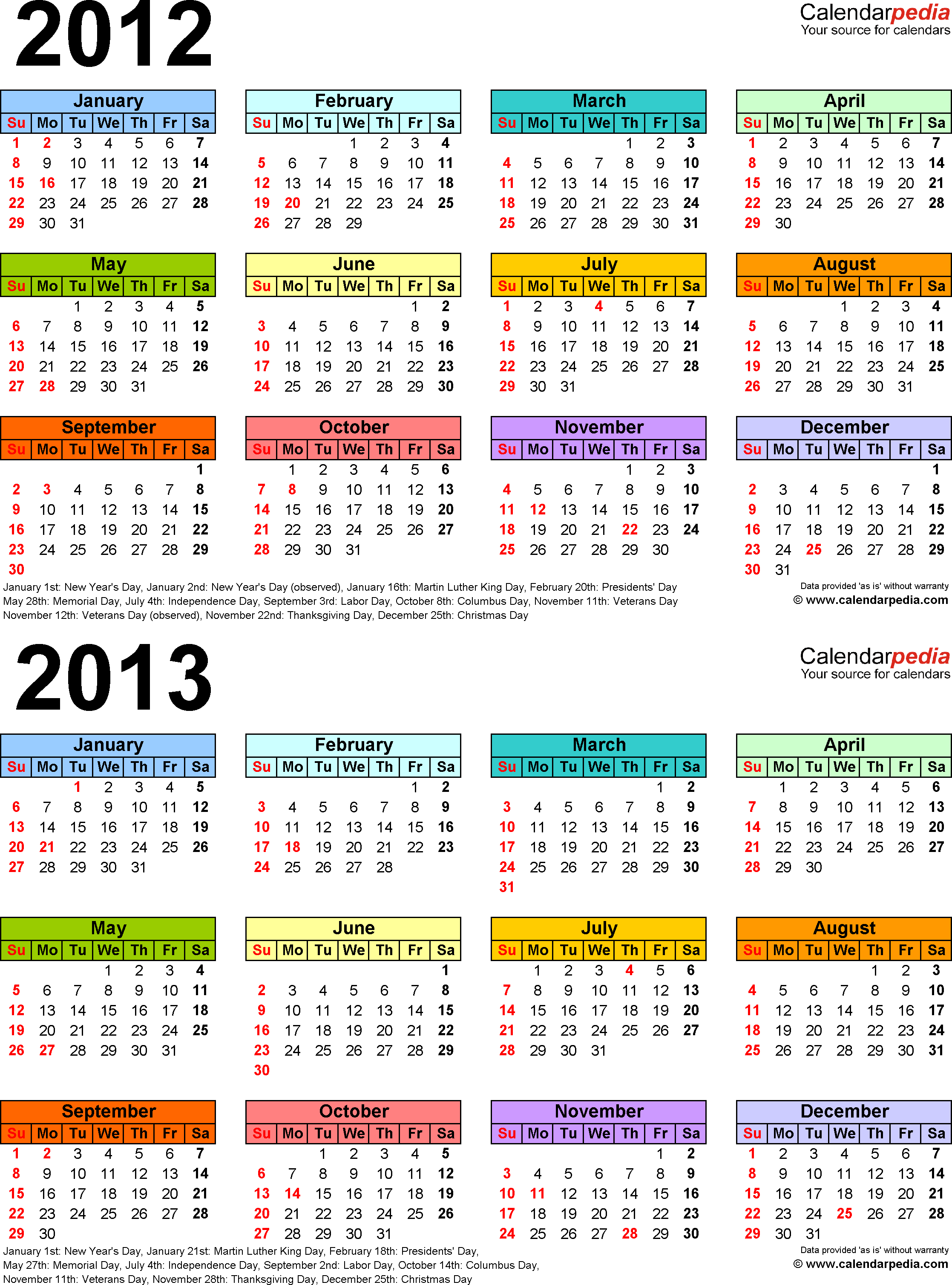 Template 3: PDF template for two year calendar 2012/2013 (portrait orientation, 1 page, multi-color)