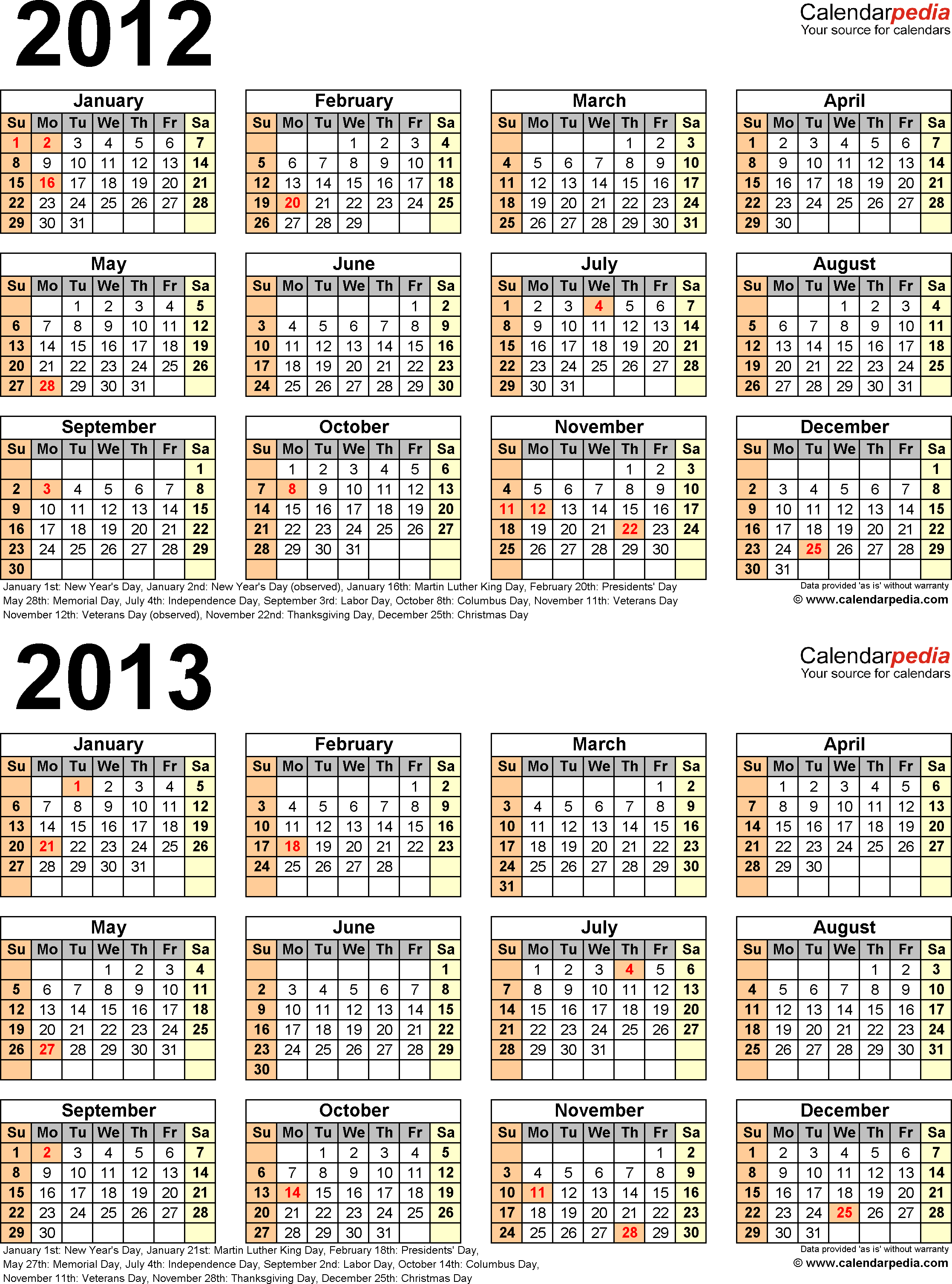 Template 4: PDF template for two year calendar 2012/2013 (portrait orientation, 1 page)