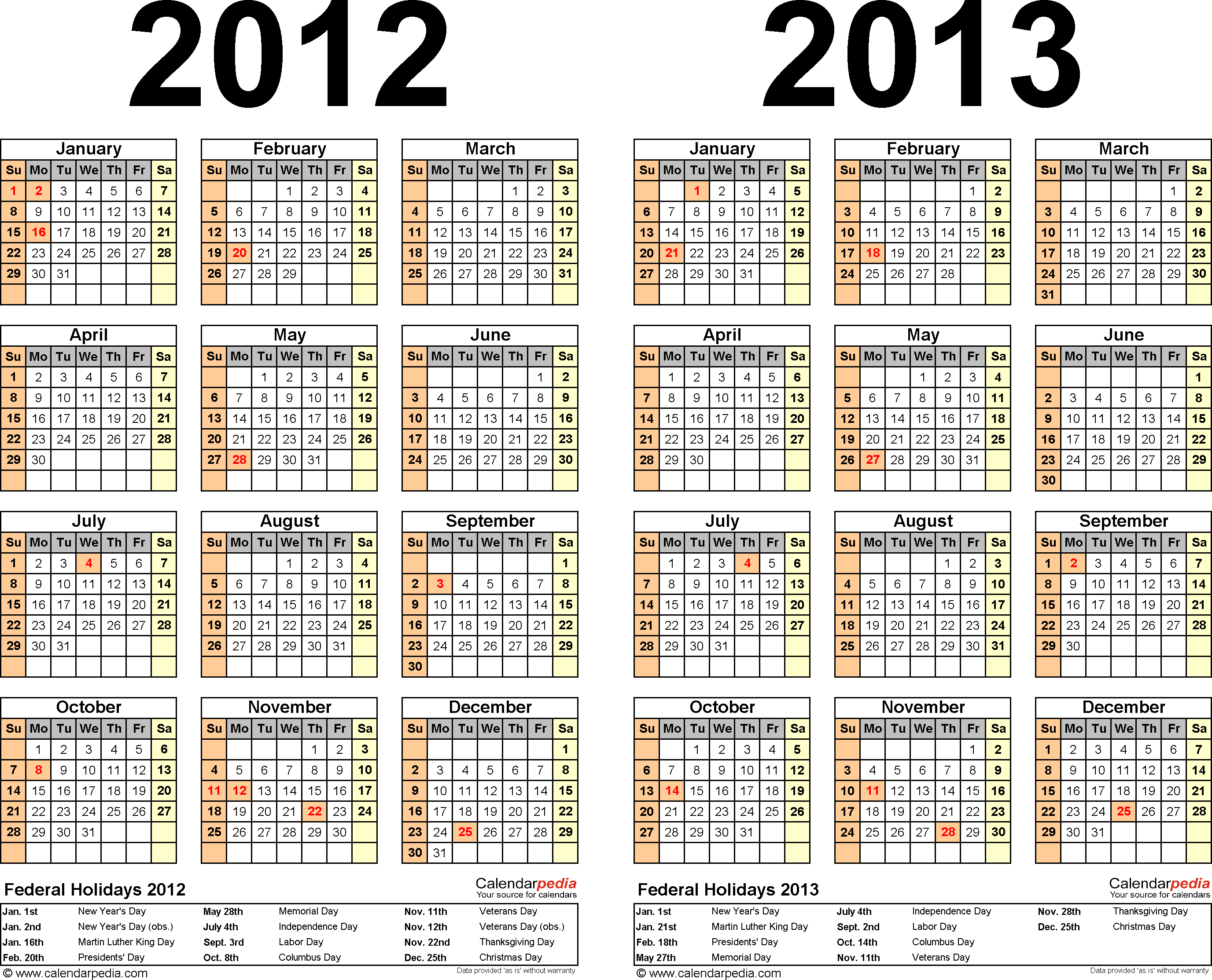 Template 2: PDF template for two year calendar 2012/2013 (landscape orientation, 1 page)