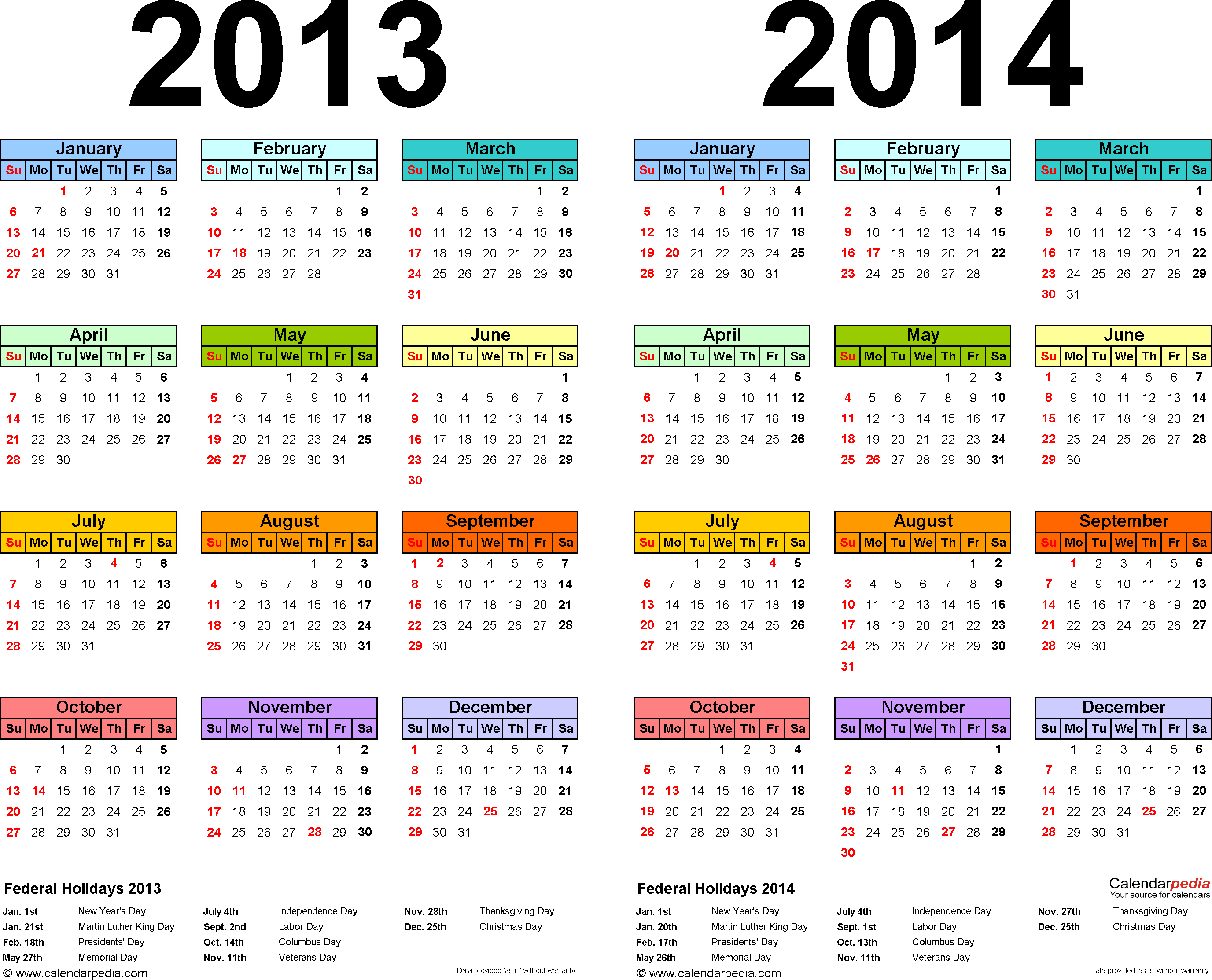 Download Template 1: PDF template for two year calendar 2013/2014 (landscape orientation, 1 page, years side by side, multi-colored)