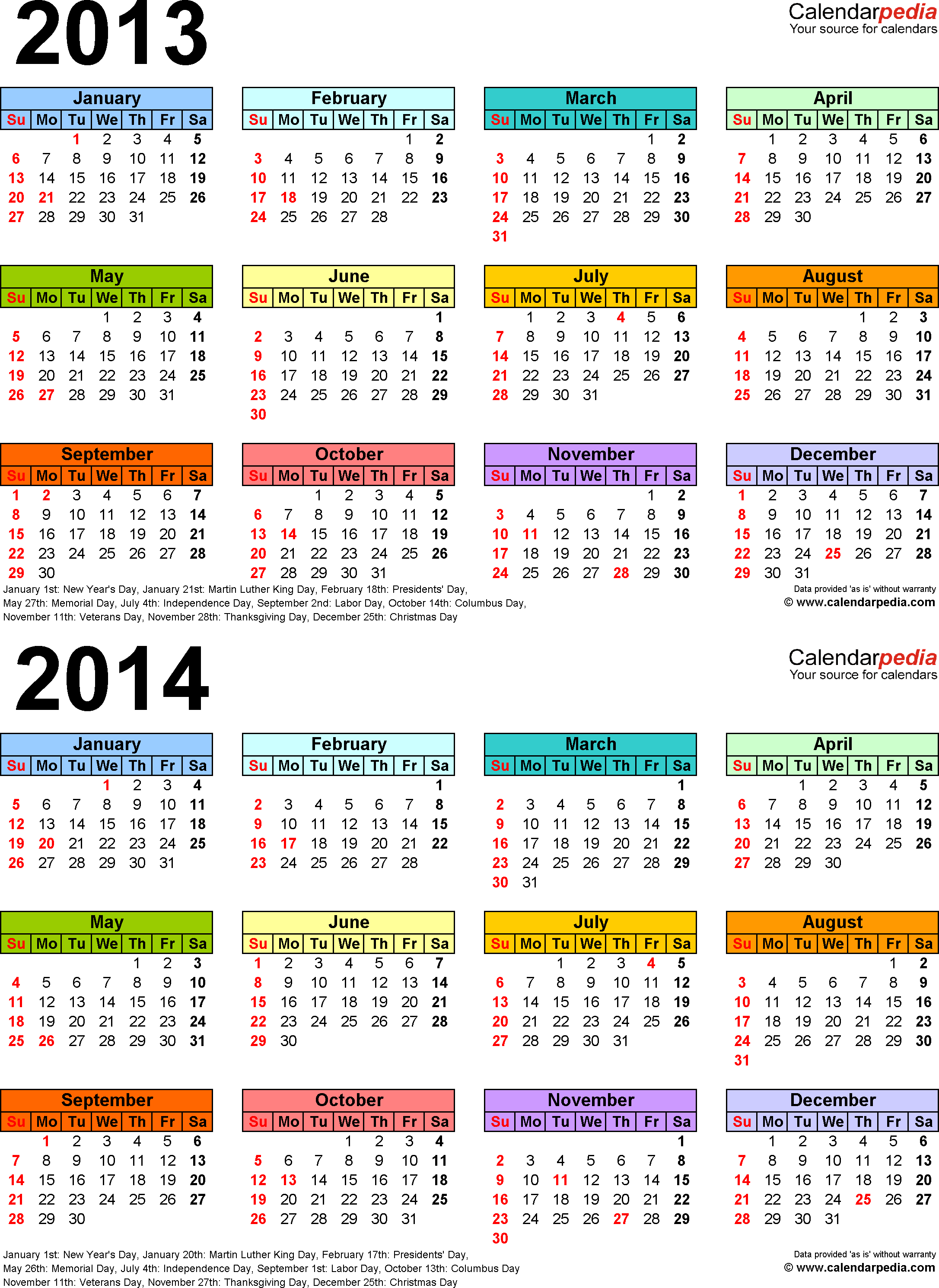 Download Template 3: PDF template for two year calendar 2013/2014 (portrait orientation, 1 page, years stacked, multi-colored)