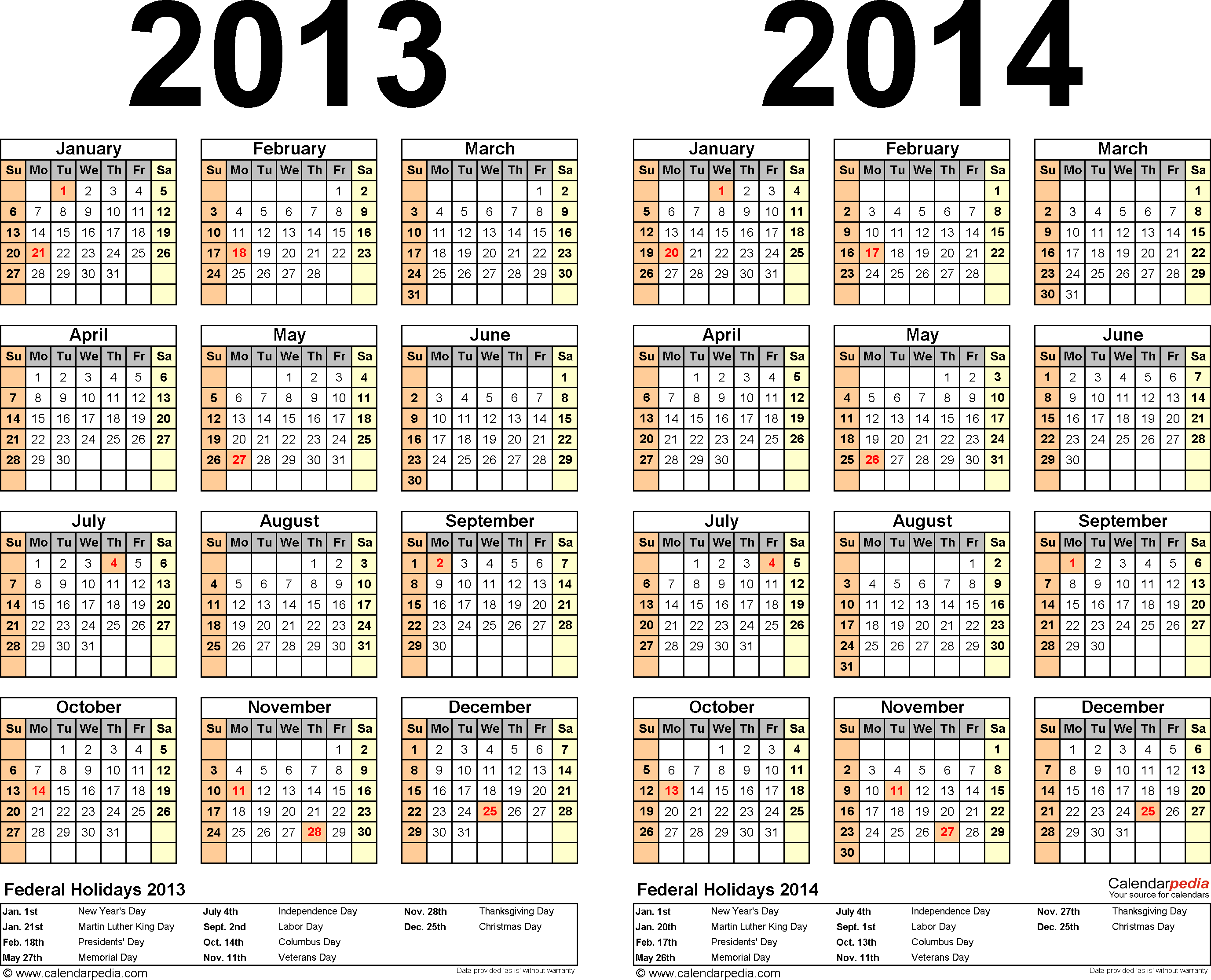 Download Template 2: PDF template for two year calendar 2013/2014 (landscape orientation, 1 page, years side by side)