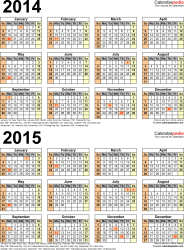 Download Template 4: Microsoft Word template for two year calendar 2014/2015 (portrait orientation, 1 page, years stacked)