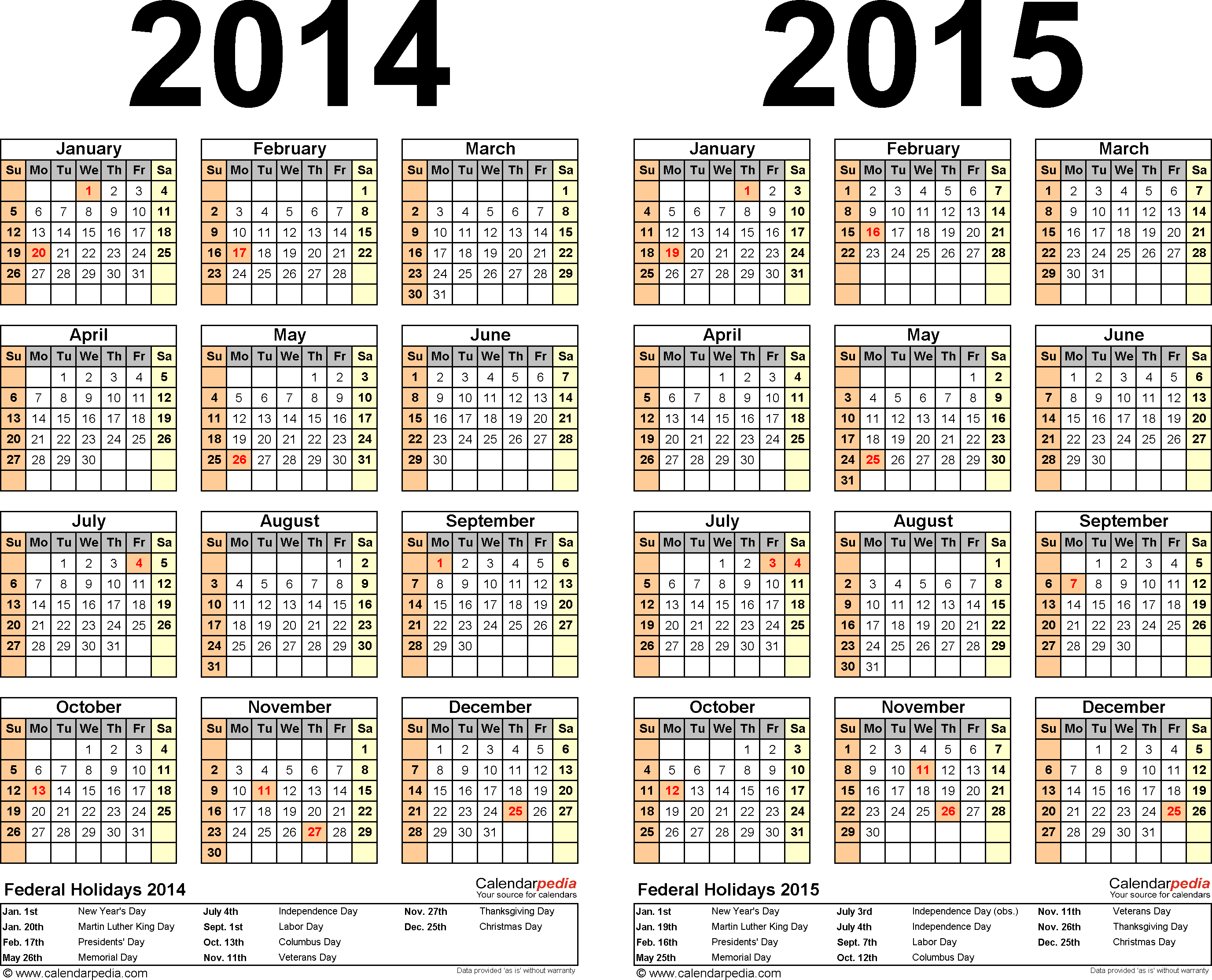 Template 2: Word template for two year calendar 2014/2015 (landscape orientation, 1 page)