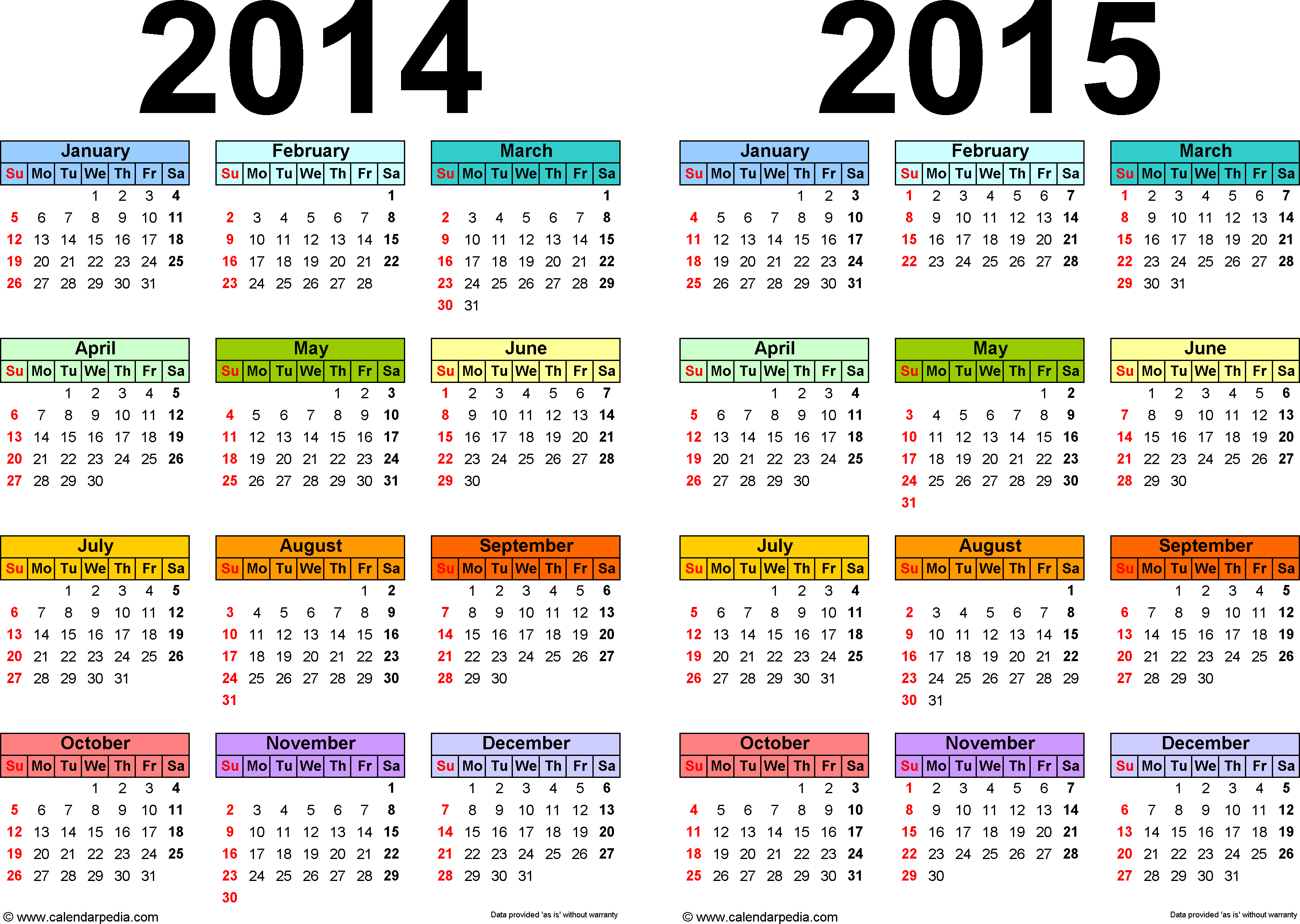 Template 1: Word template for two year calendar 2014/2015 (landscape orientation, 1 page, in color)