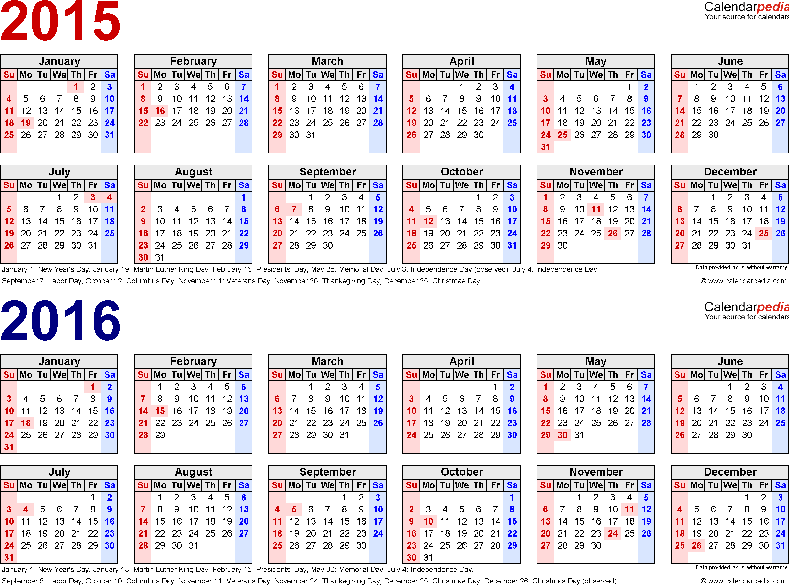 Template 1: PDF template for two year calendar 2015/2016 (landscape orientation, 1 page, in red and blue)