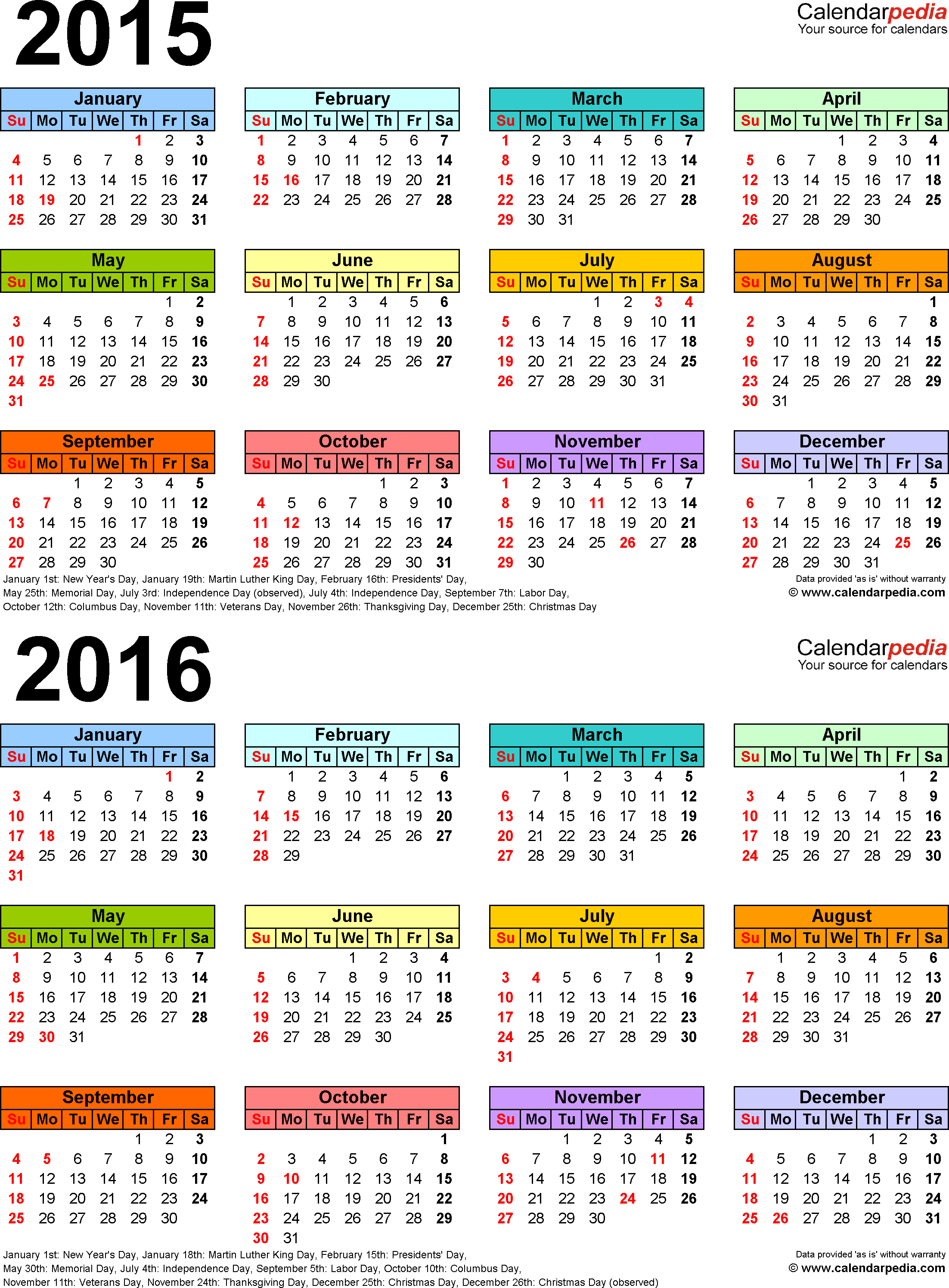 Download Template 4: PDF template for two year calendar 2015/2016 (portrait orientation, 1 page, years stacked, multi-colored)