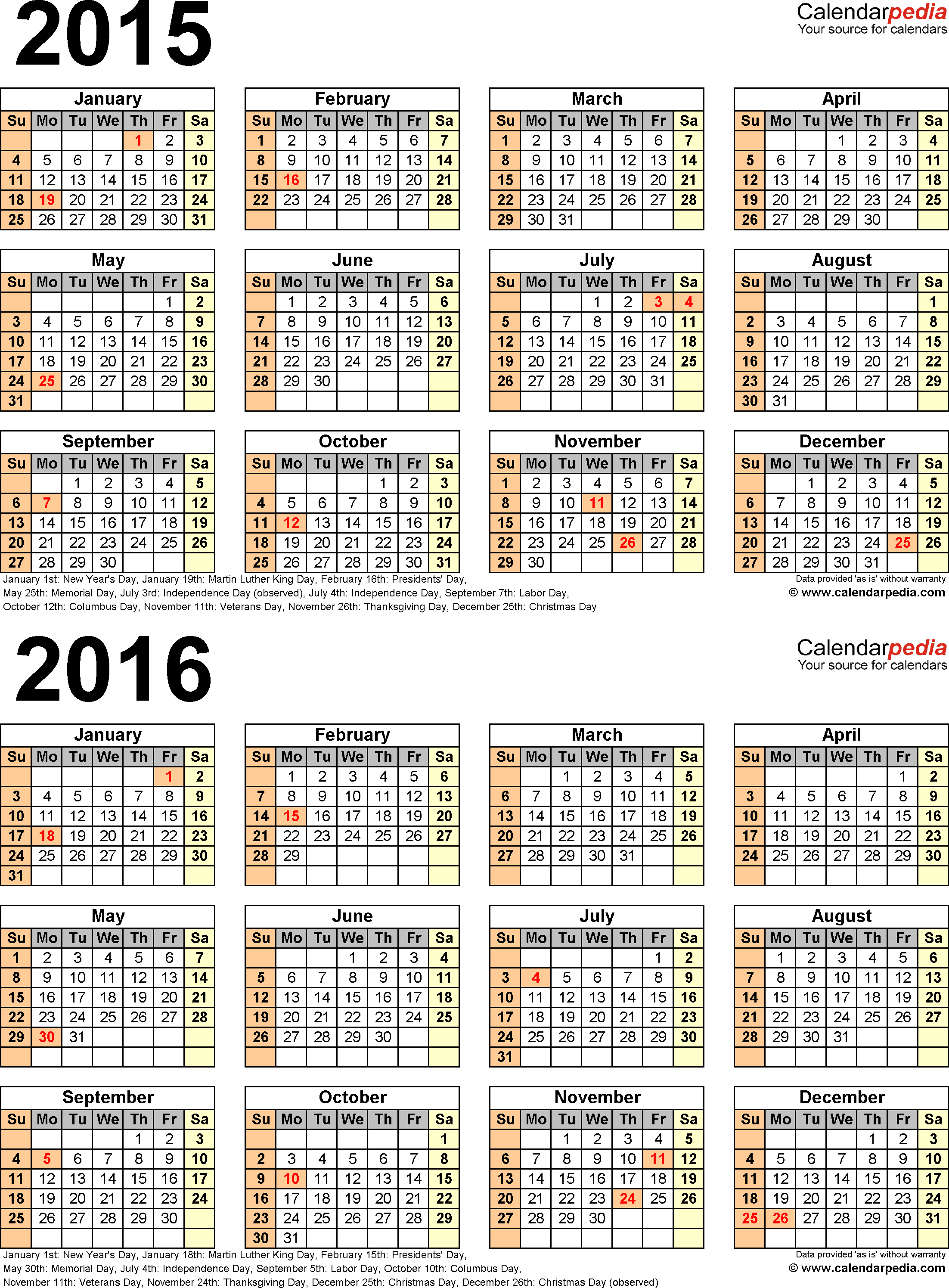 Template 5: PDF template for two year calendar 2015/2016 (portrait orientation, 1 page)