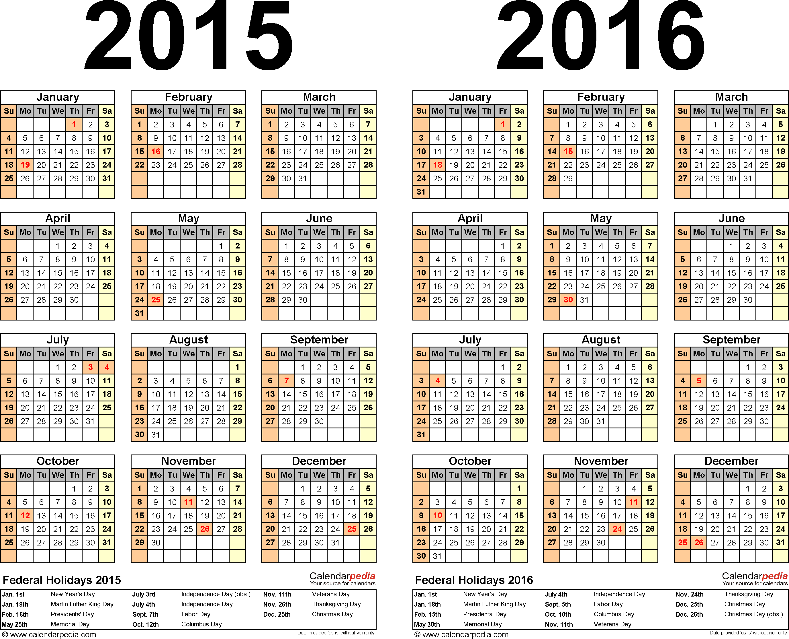 Download Template 3: PDF template for two year calendar 2015/2016 (landscape orientation, 1 page, years side by side)