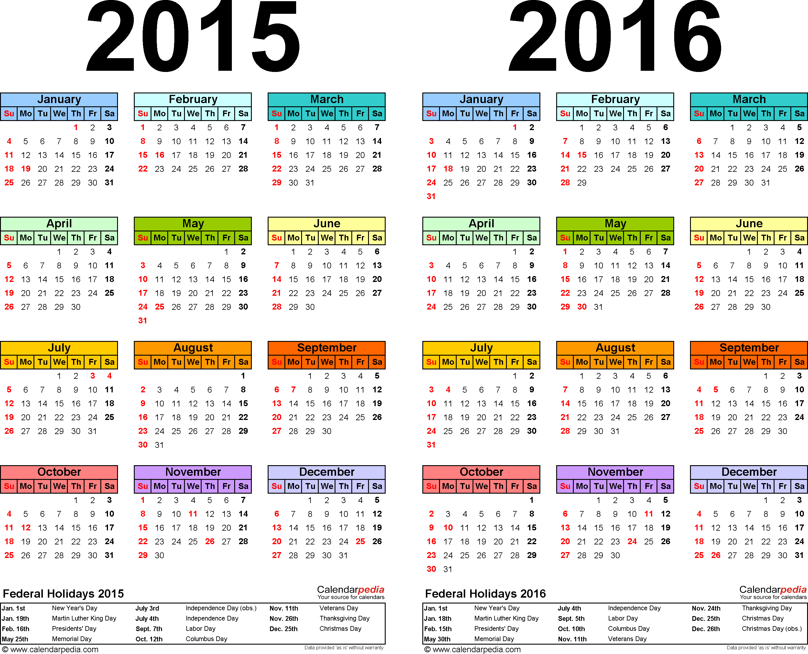 Download Template 2: PDF template for two year calendar 2015/2016 (landscape orientation, 1 page, years side by side, multi-colored)