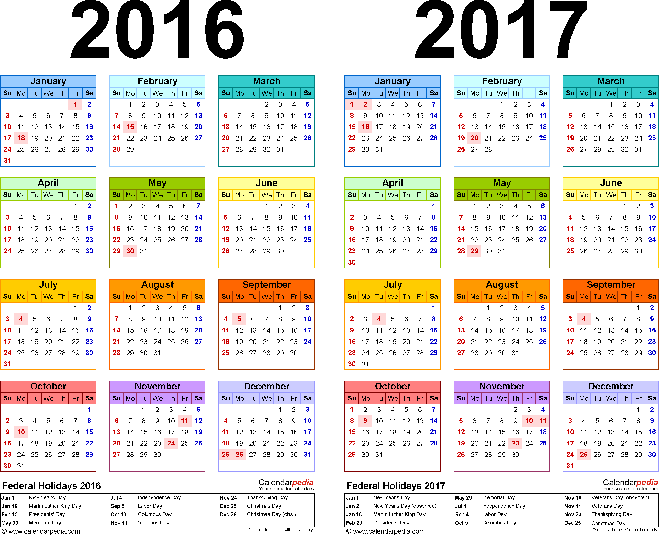 Template 2: Excel template for two year calendar 2016/2017 (landscape orientation, 1 page, in color)