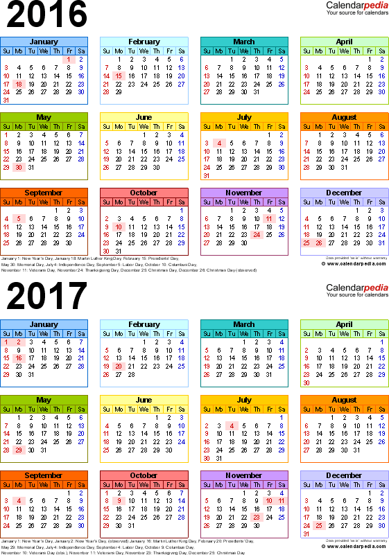 Template 4: Excel template for two year calendar 2016/2017 (portrait orientation, 1 page, in color)