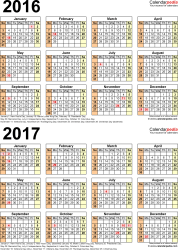 Template 5: Excel template for two year calendar 2016/2017 (portrait orientation, 1 page)