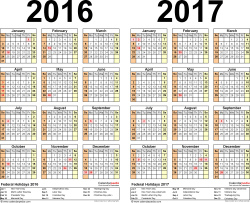 Template 3: Excel template for two year calendar 2016/2017 (landscape orientation, 1 page)