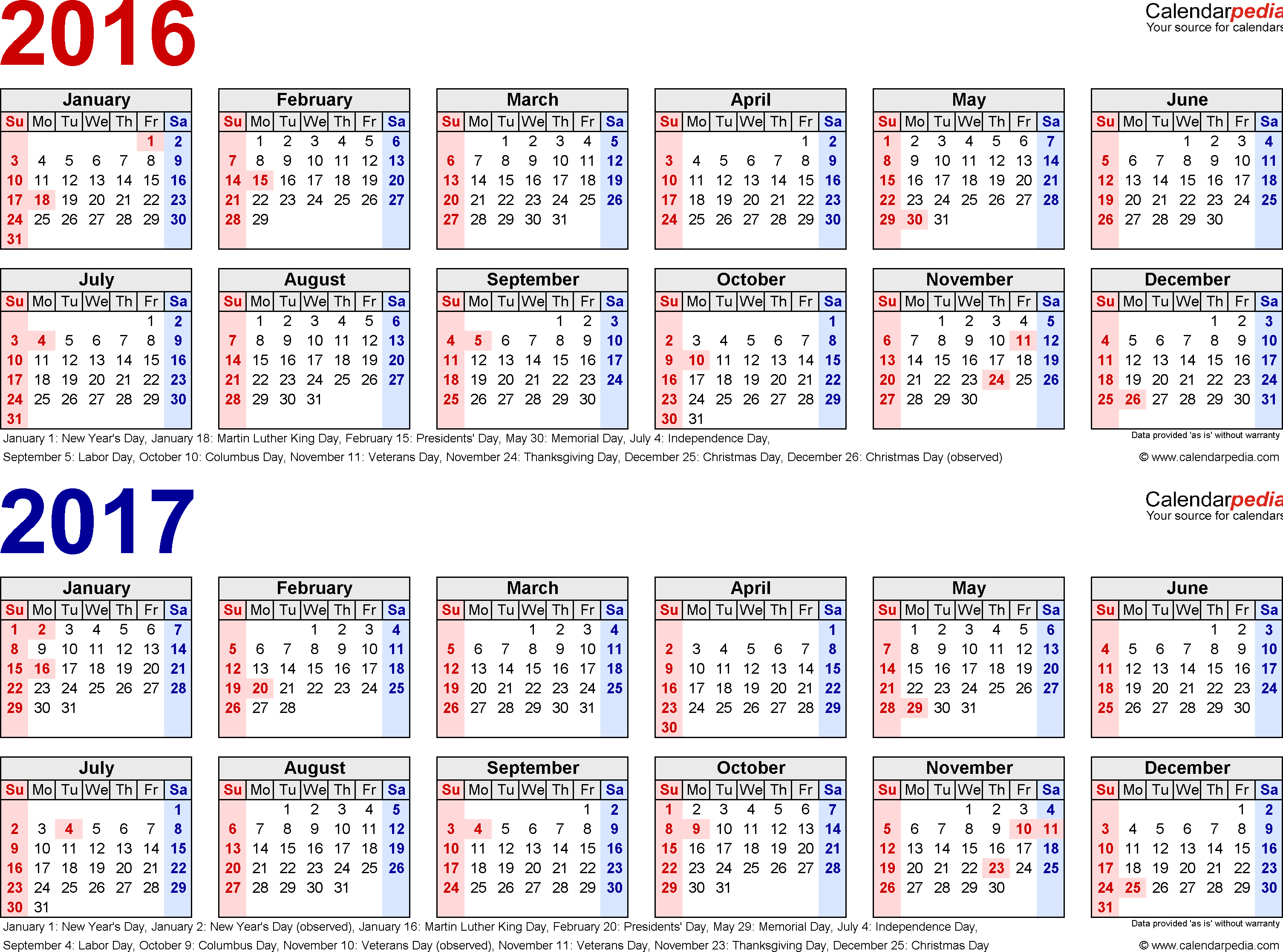Template 1: PDF template for two year calendar 2016/2017 (landscape orientation, 1 page, in red and blue)