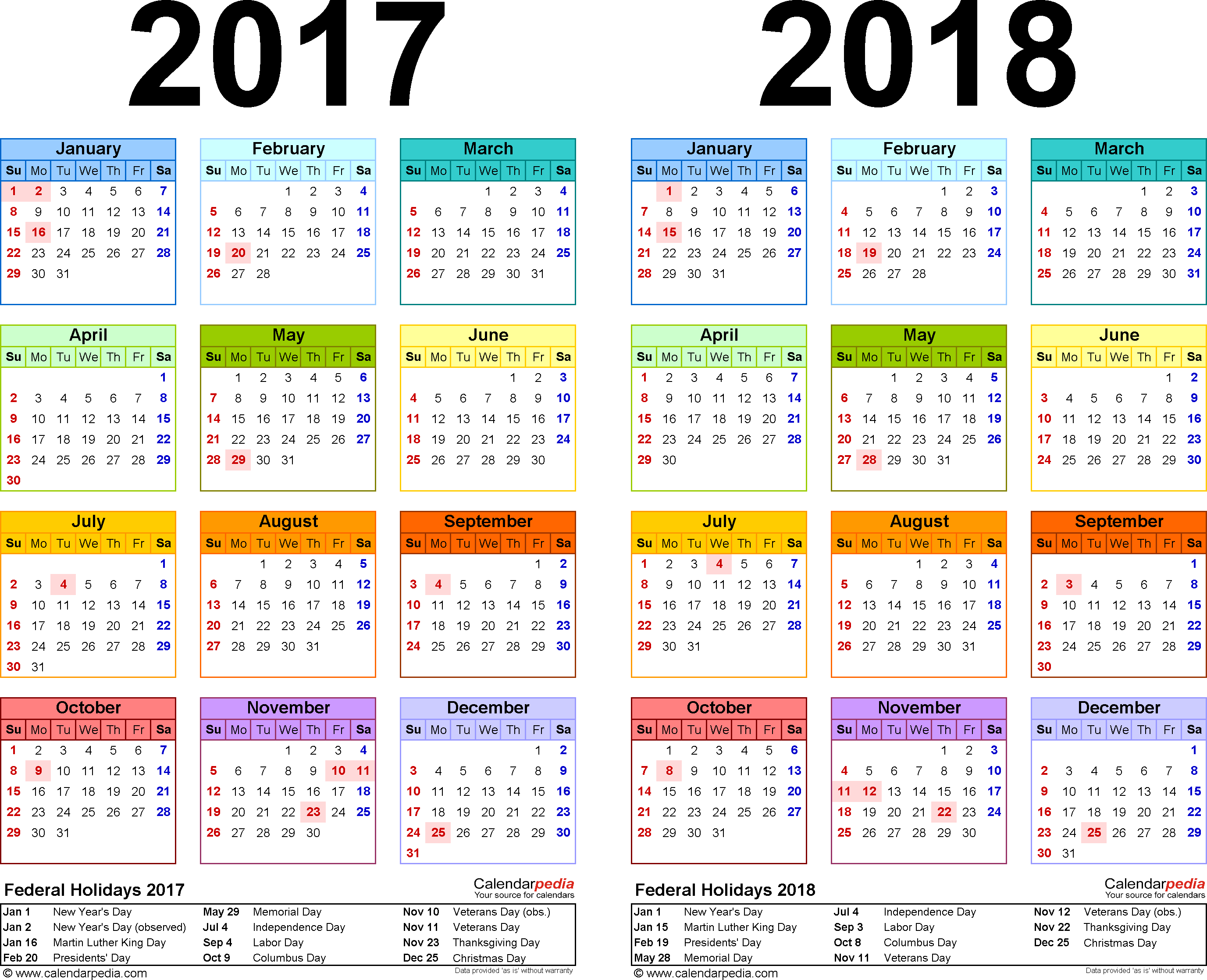 Template 2: Excel template for two year calendar 2017/2018 (landscape orientation, 1 page, in color)
