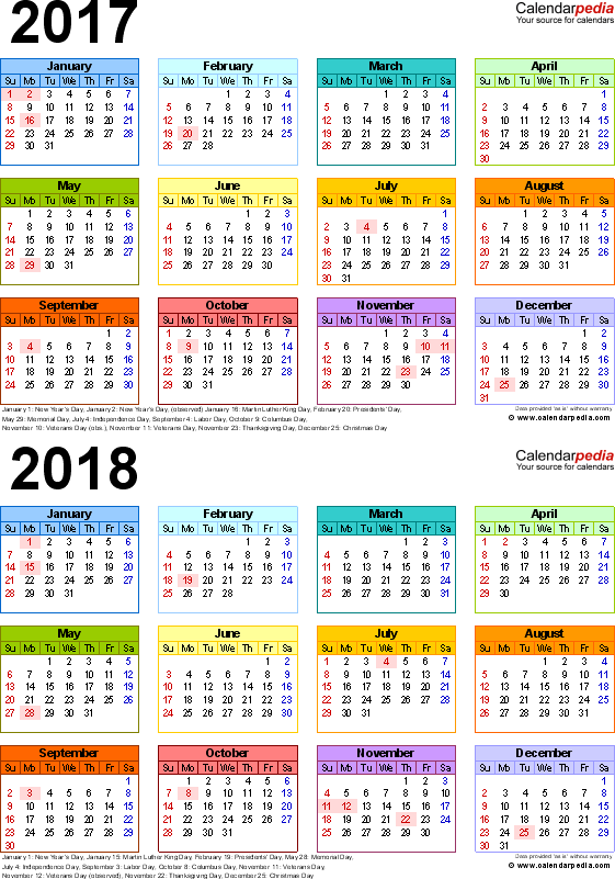 Template 4: Excel template for two year calendar 2017/2018 (portrait orientation, 1 page, in color)
