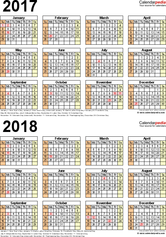 Template 5: Excel template for two year calendar 2017/2018 (portrait orientation, 1 page)
