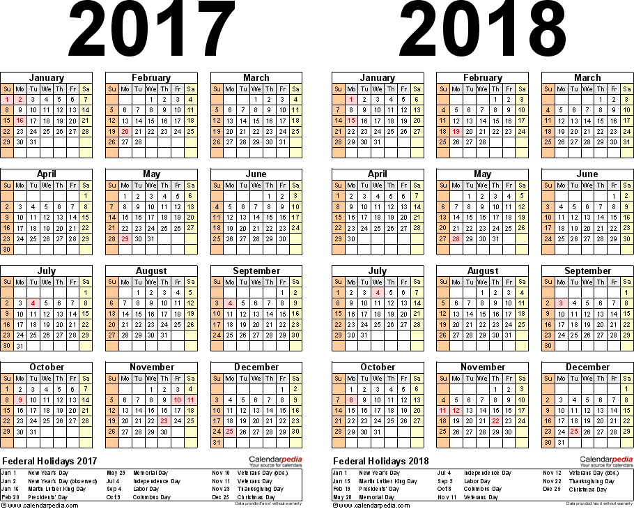 Template 3: Excel template for two year calendar 2017/2018 (landscape orientation, 1 page)