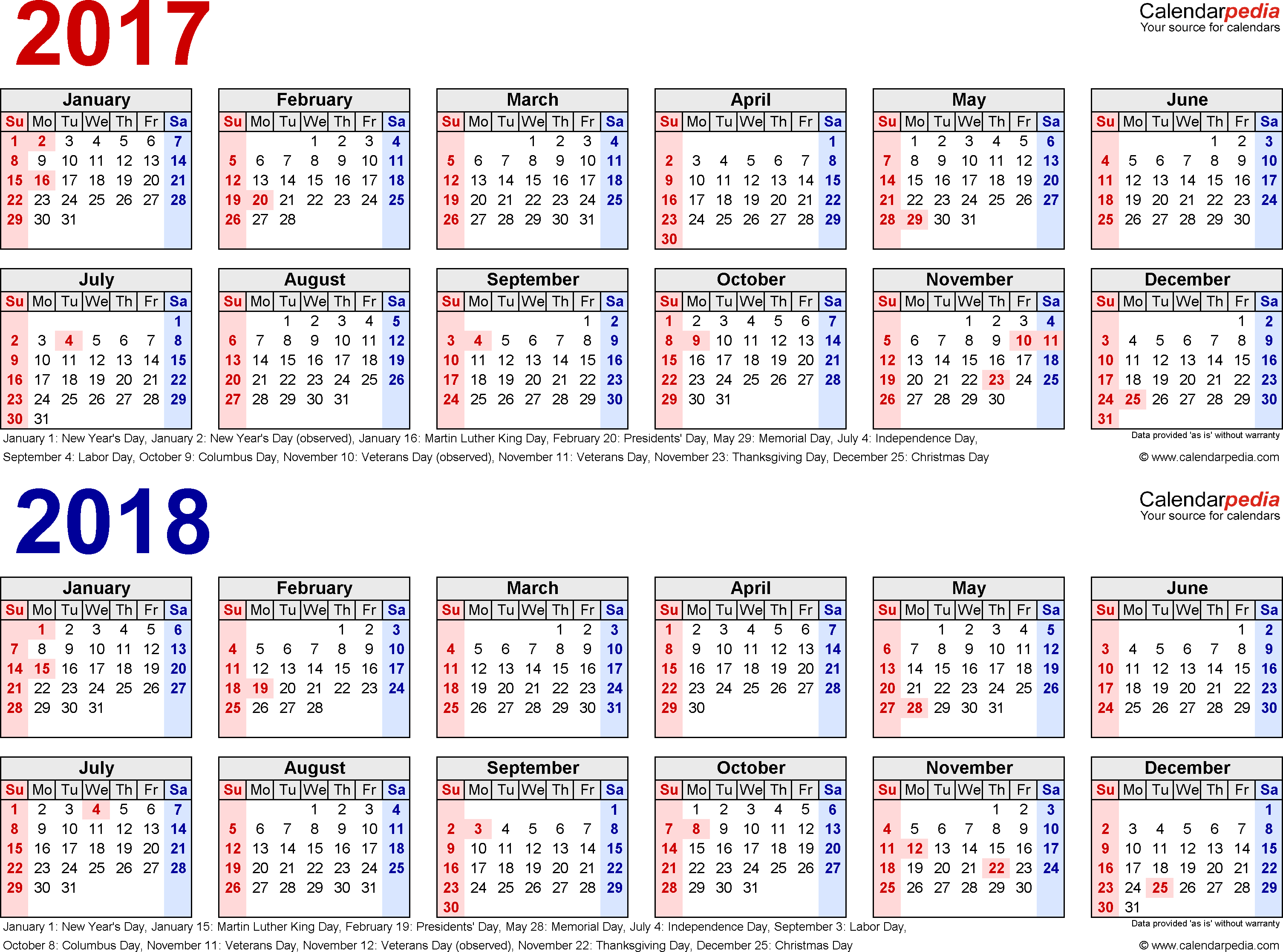 Template 1: PDF template for two year calendar 2017/2018 (landscape orientation, 1 page, in red and blue)