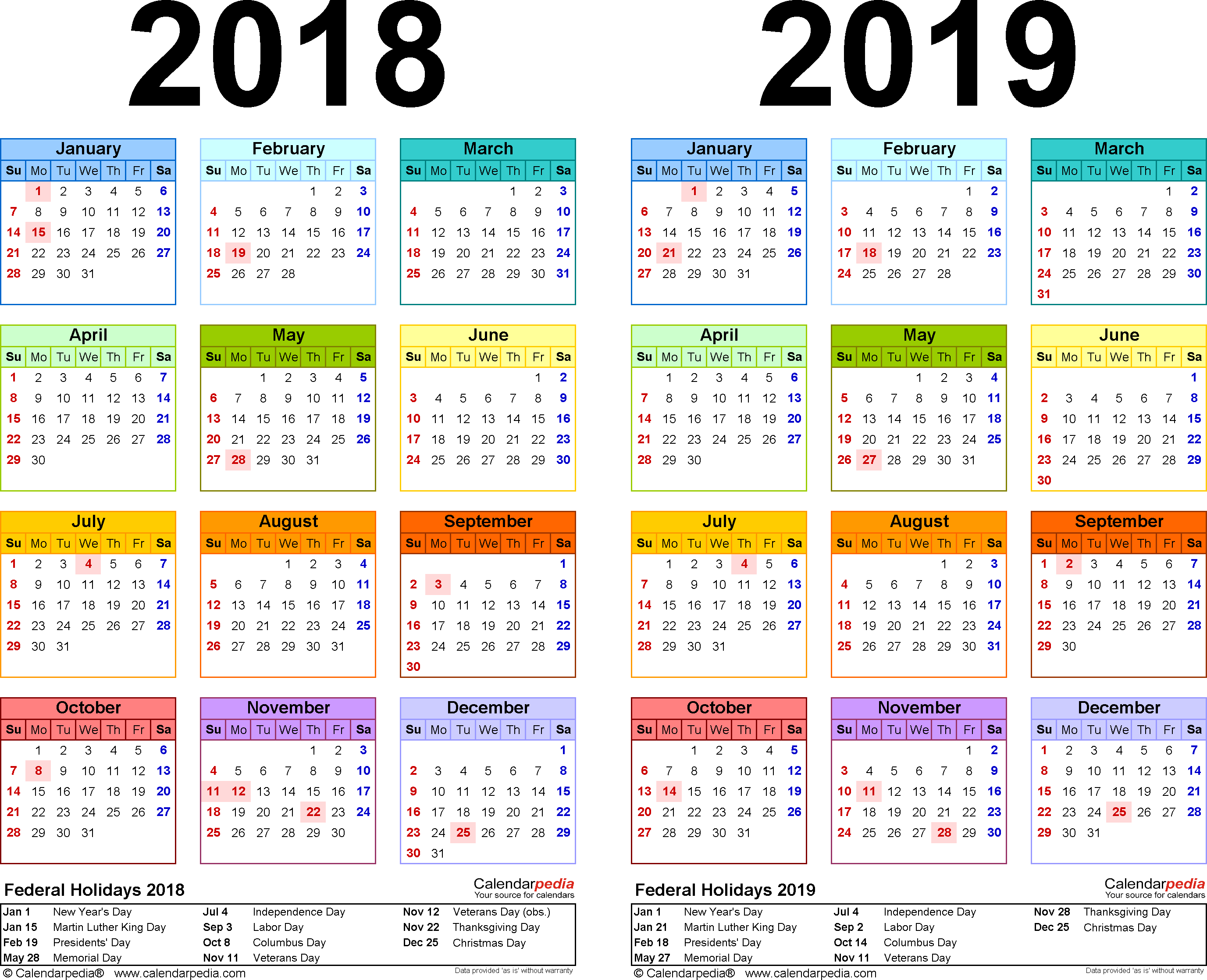 Template 2: Excel template for two year calendar 2018/2019 (landscape orientation, 1 page, in color)
