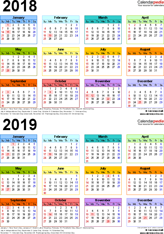 Template 4: Excel template for two year calendar 2018/2019 (portrait orientation, 1 page, in color)