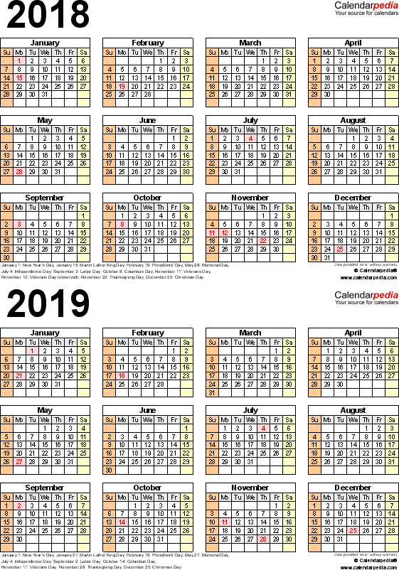 Template 5: Excel template for two year calendar 2018/2019 (portrait orientation, 1 page)