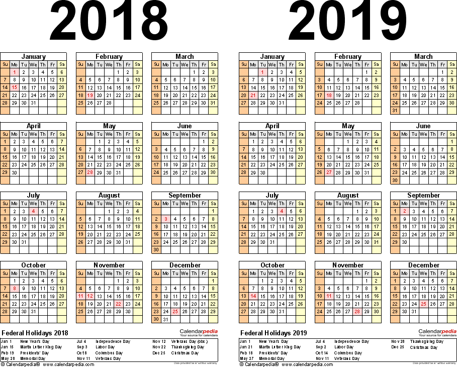Template 3: Word template for two year calendar 2018/2019 (landscape orientation, 1 page)