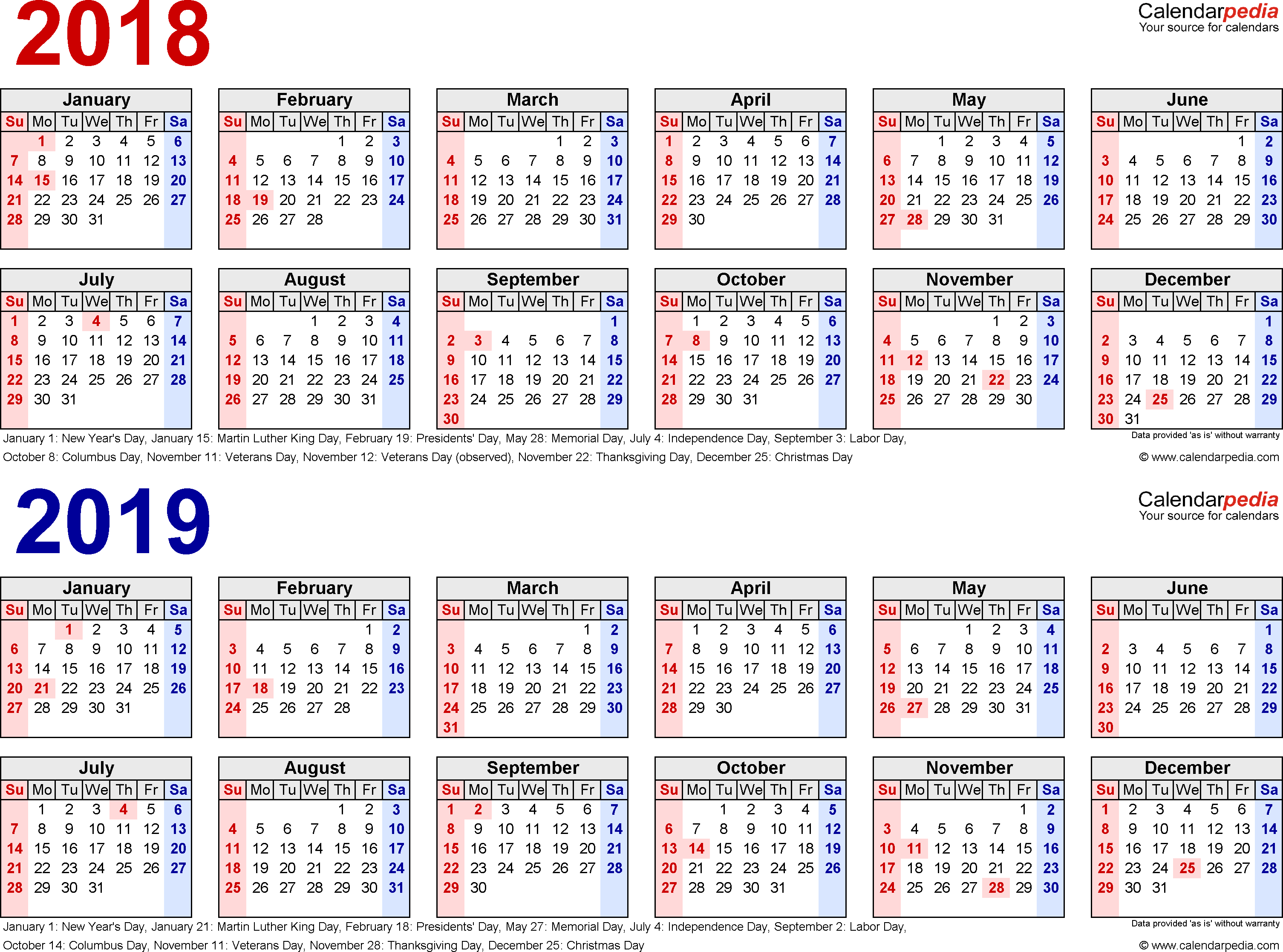 Template 1: Excel template for two year calendar 2018/2019 (landscape orientation, 1 page, in red and blue)