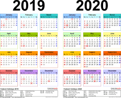 Template 2: Word template for two year calendar 2019/2020 (landscape orientation, 1 page, in color)
