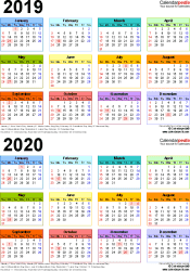 Template 4: Word template for two year calendar 2019/2020 (portrait orientation, 1 page, in color)