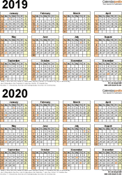 Template 5: Word template for two year calendar 2019/2020 (portrait orientation, 1 page)