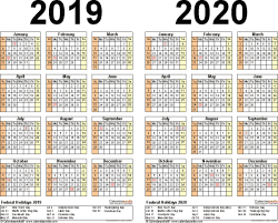 Template 3: Word template for two year calendar 2019/2020 (landscape orientation, 1 page)