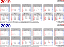 Template 1: Word template for two year calendar 2019/2020 (landscape orientation, 1 page, in red and blue)