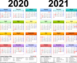 Download Template 3: PDF template for two year calendar 2020/2021 (landscape orientation, 1 page, years side by side, multi-colored)