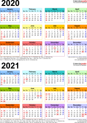 Template 4: Excel template for two year calendar 2020/2021 (portrait orientation, 1 page, in color)