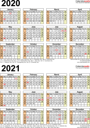 Template 5: PDF template for two year calendar 2020/2021 (portrait orientation, 1 page)