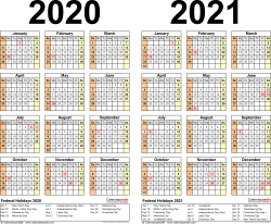 Template 3: Word template for two year calendar 2020/2021 (landscape orientation, 1 page)