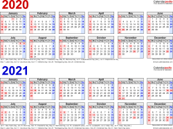 Template 1: Excel template for two year calendar 2020/2021 (landscape orientation, 1 page, in red and blue)