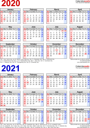 Download Template 7: PDF template for two year calendar 2020/2021 (portrait orientation, 1 page, years stacked, red and blue)