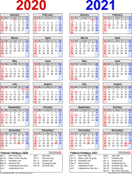 Download Template 8: Microsoft Word template for two year calendar 2020/2021 (portrait orientation, 1 page, years side by side, red and blue)