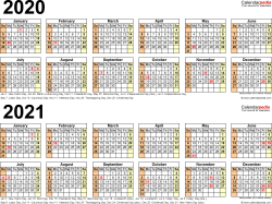 Download Template 6: PDF template for two year calendar 2020/2021 (landscape orientation, 1 page, linear)