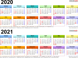 Download Template 4: PDF template for two year calendar 2020/2021 (landscape orientation, 1 page, linear, multi-colored)