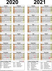 Download Template 12: Microsoft Word template for two year calendar 2020/2021 (portrait orientation, 1 page, years side by side)