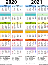 Download Template 10: PDF template for two year calendar 2020/2021 (portrait orientation, 1 page, years side by side, multi-colored)