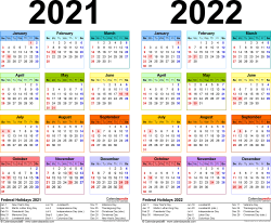 Download Template 3: PDF template for two year calendar 2021/2022 (landscape orientation, 1 page, years side by side, multi-colored)