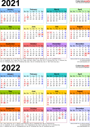 Download Template 9: PDF template for two year calendar 2021/2022 (portrait orientation, 1 page, years stacked, multi-colored)
