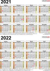 Template 5: Excel template for two year calendar 2021/2022 (portrait orientation, 1 page)